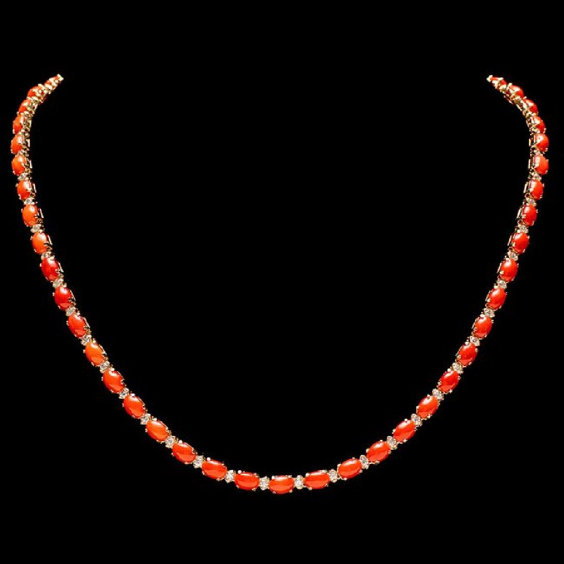 14k Gold 16ct Coral 1.70ct Diamond Necklace