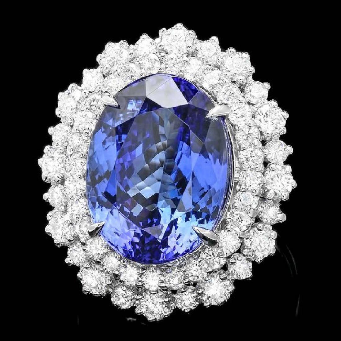 18k Gold 11.00ct Tanzanite 2.00ct Diamond Ring