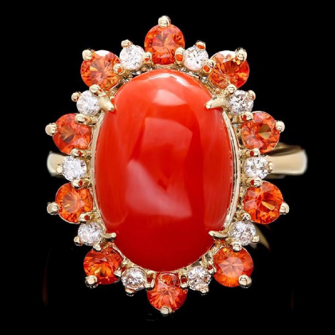 14k Yellow Gold 6.50ct Coral 0.40ct Diamond Ring