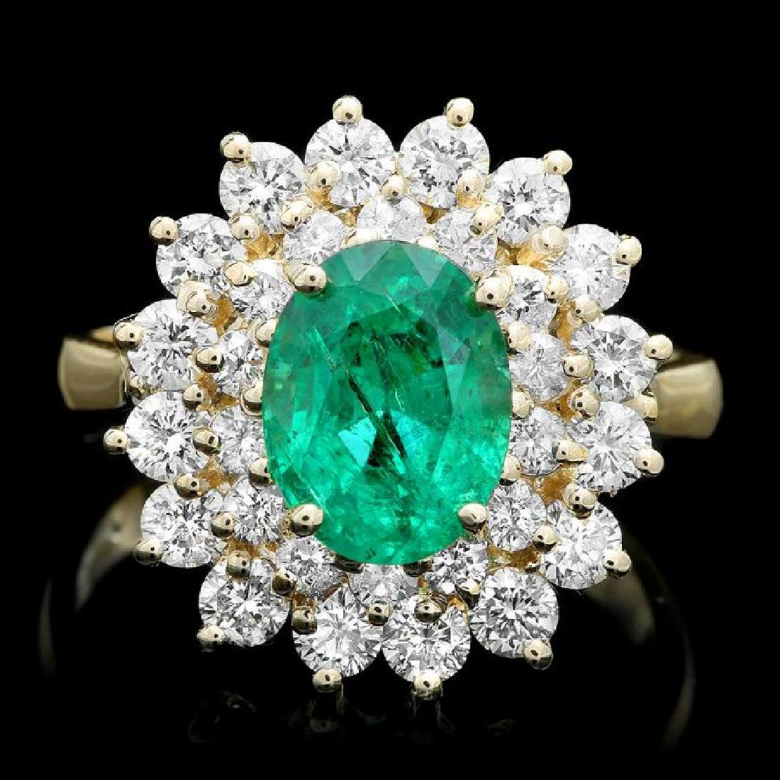 14k Gold 2.00ct Emerald 1.50ct Diamond Ring