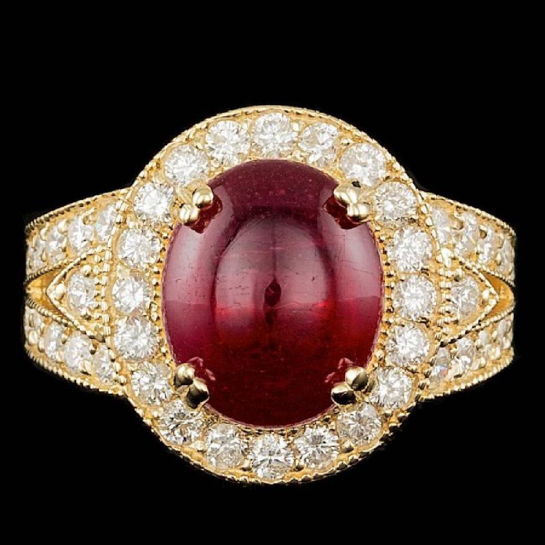 14k Yellow Gold 8.00ct Ruby 1.60ct Diamond Ring
