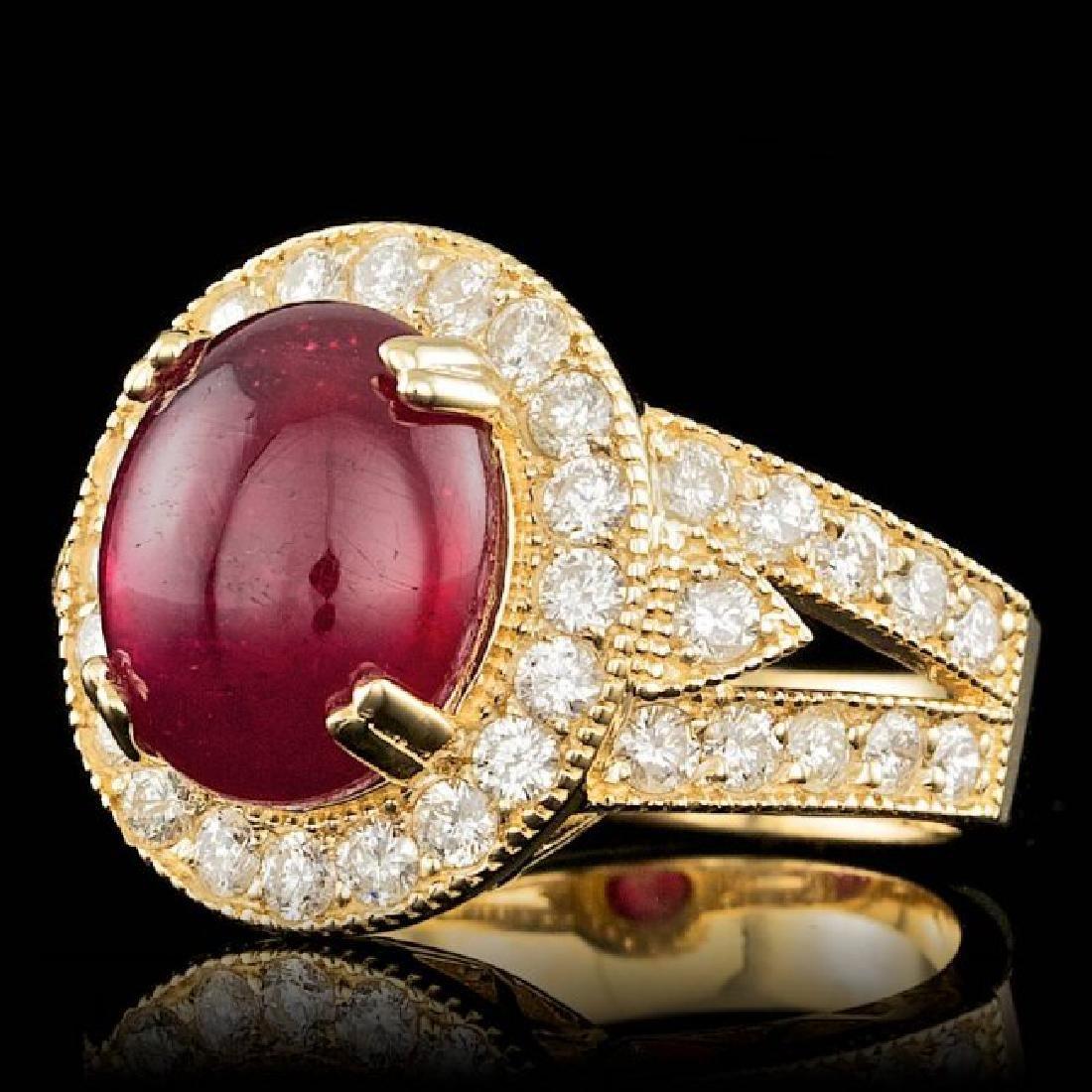 14k Yellow Gold 8.00ct Ruby 1.60ct Diamond Ring - 2