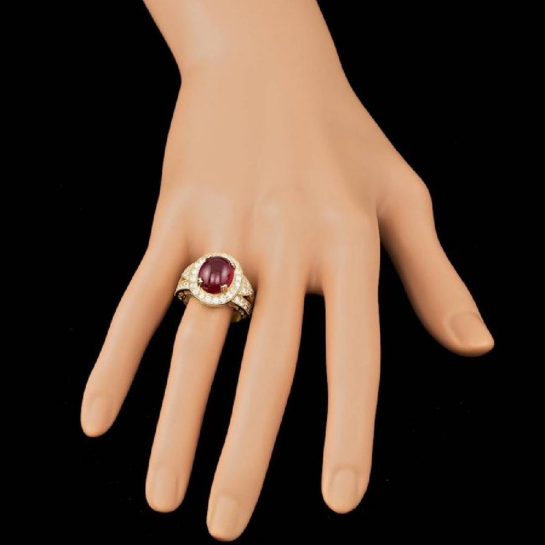 14k Yellow Gold 8.00ct Ruby 1.60ct Diamond Ring - 4