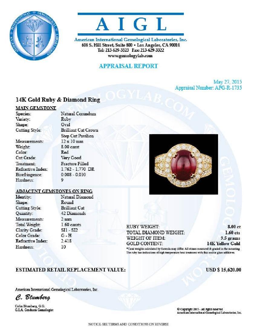 14k Yellow Gold 8.00ct Ruby 1.60ct Diamond Ring - 5
