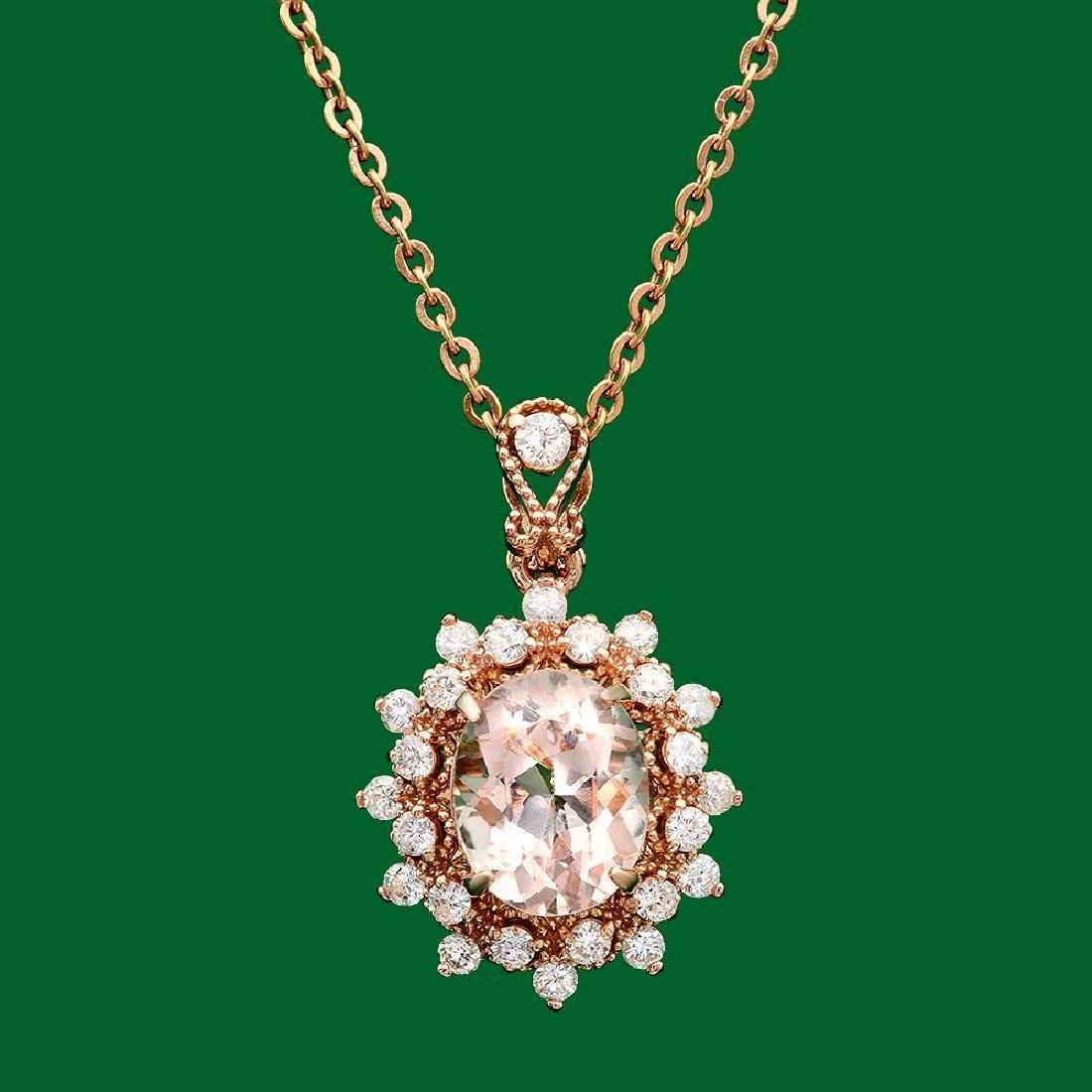 14k Gold 2.67ct Morganite 0.70ct Diamond Pendant