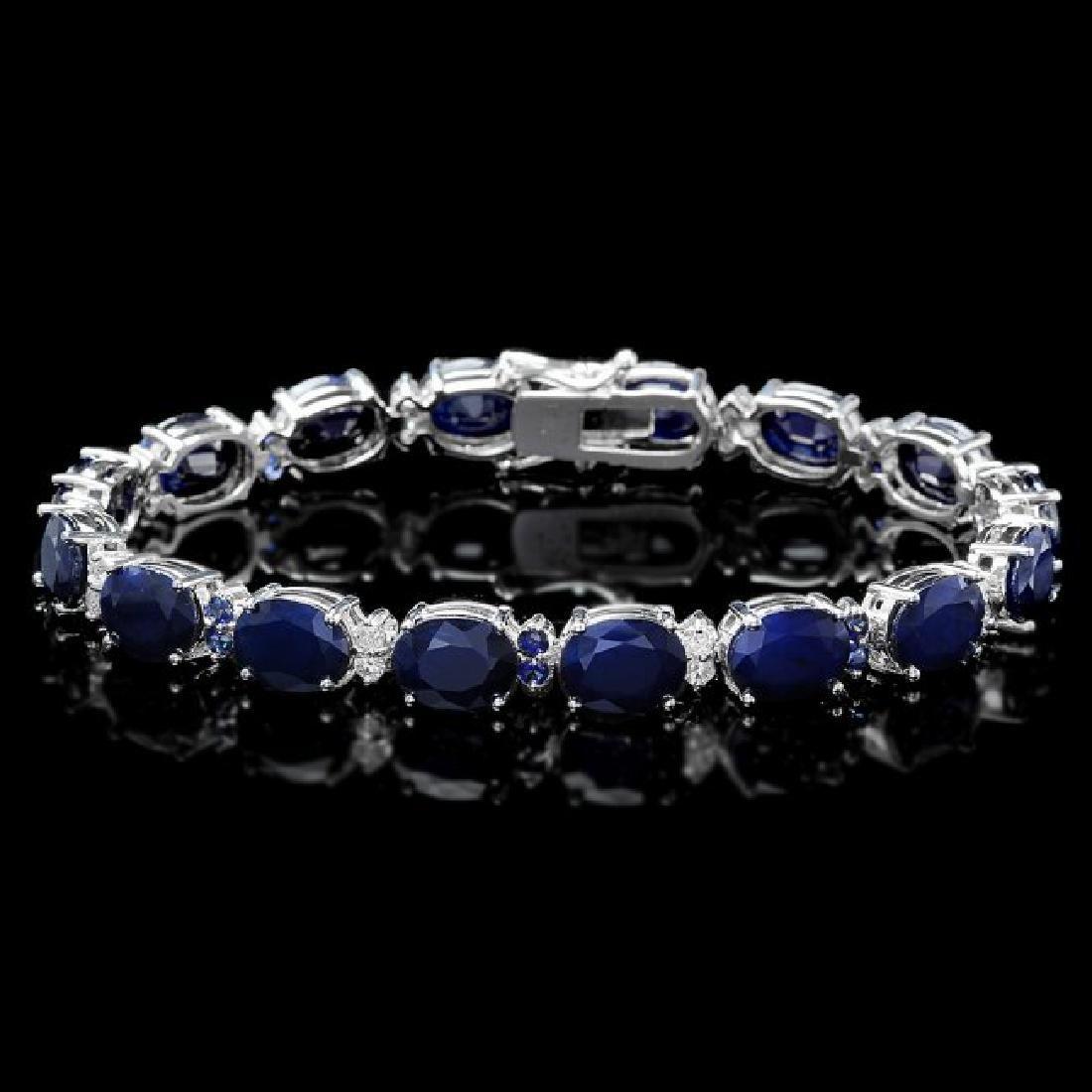 14k Gold 36ct Sapphire .70ct Diamond Bracelet