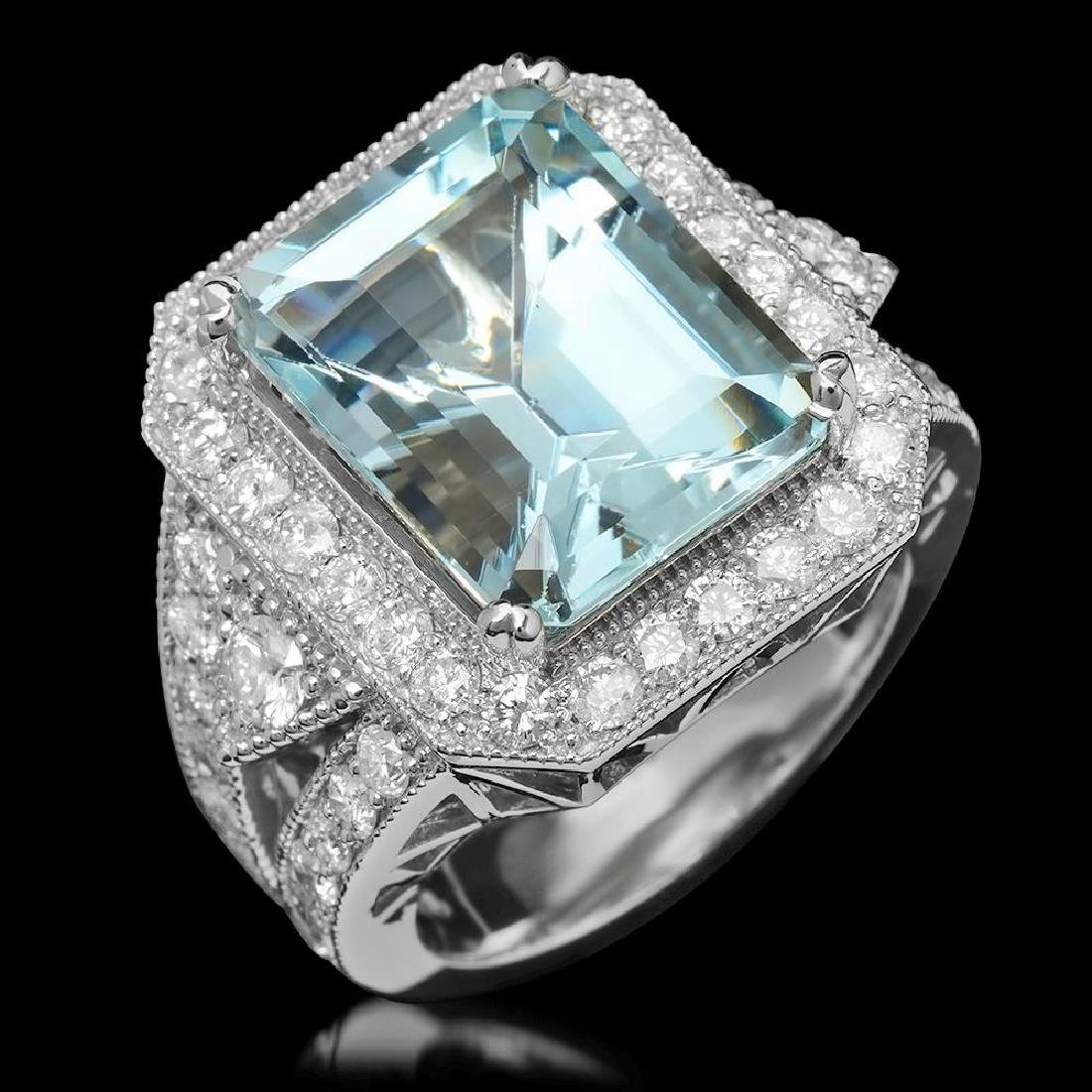 14K Gold 9.55ct Aquamarine & 2.10ct Diamond Ring