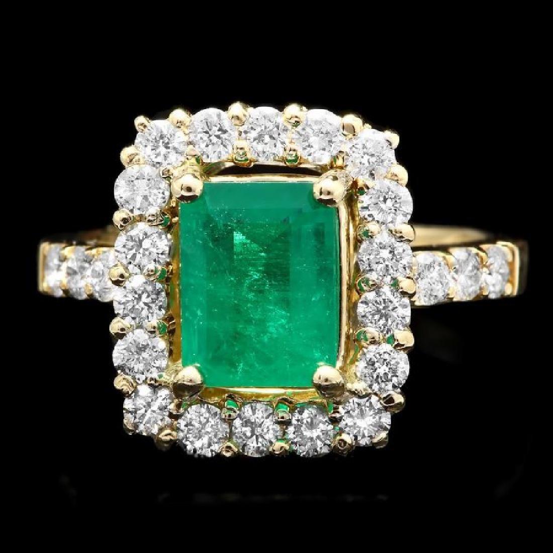 14k Gold 1.90ct Emerald 1.00ct Diamond Ring