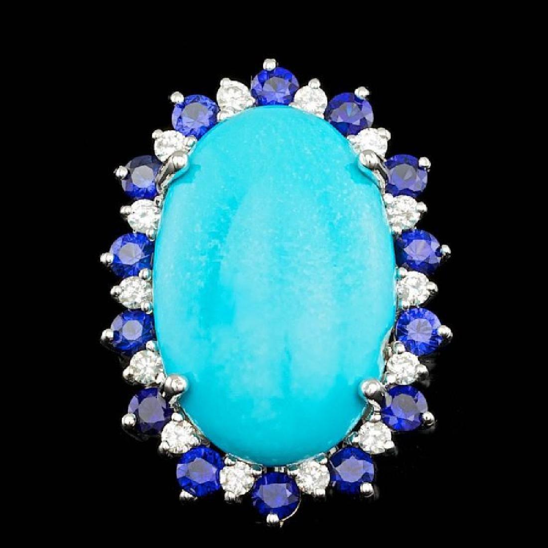 14k Gold 17.50ct Turquoise 0.60ct Diamond Ring