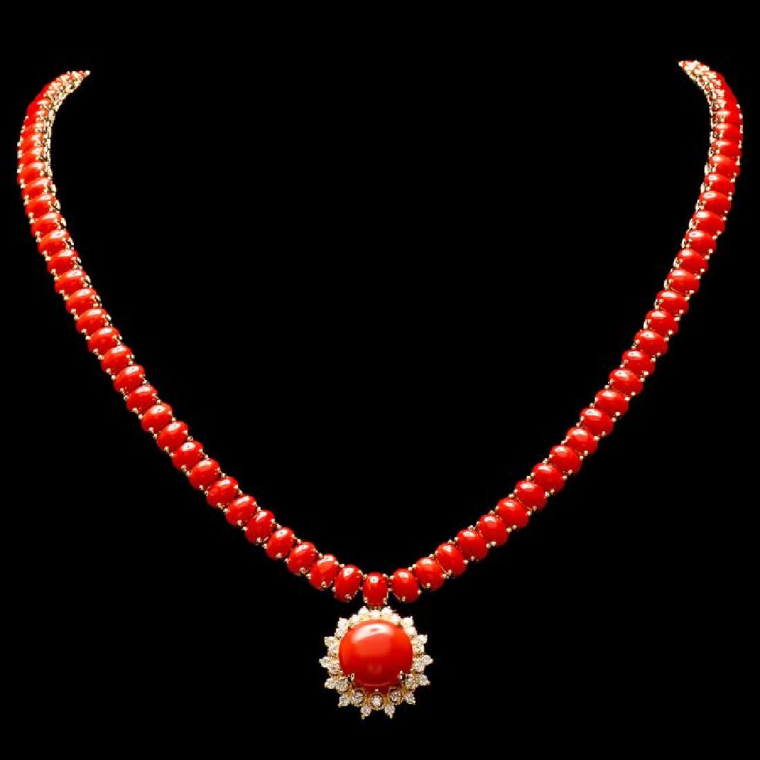 14k Gold 39ct Coral 0.80ct Diamond Necklace