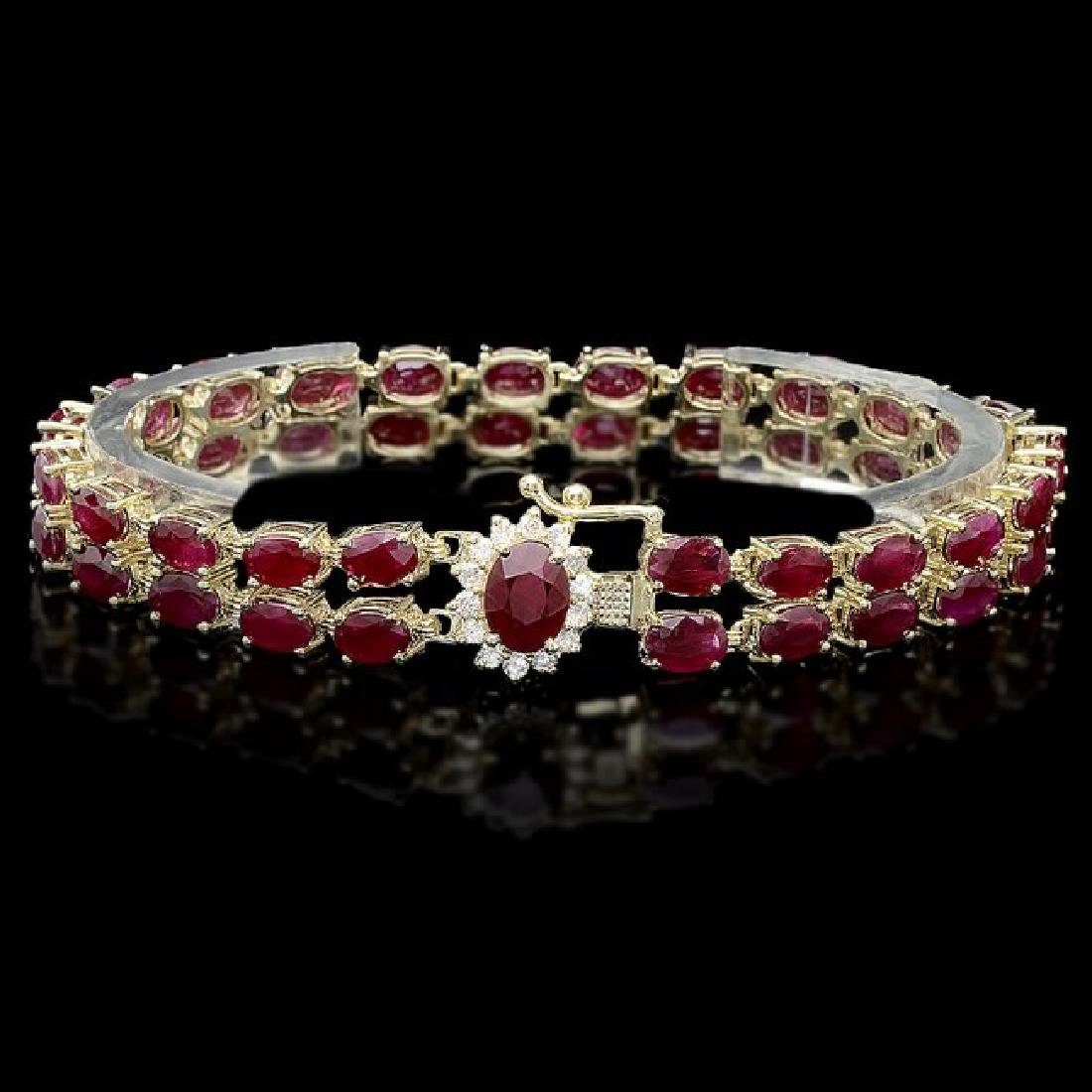 14k Gold 24.5ct Ruby 0.40ct Diamond Bracelet