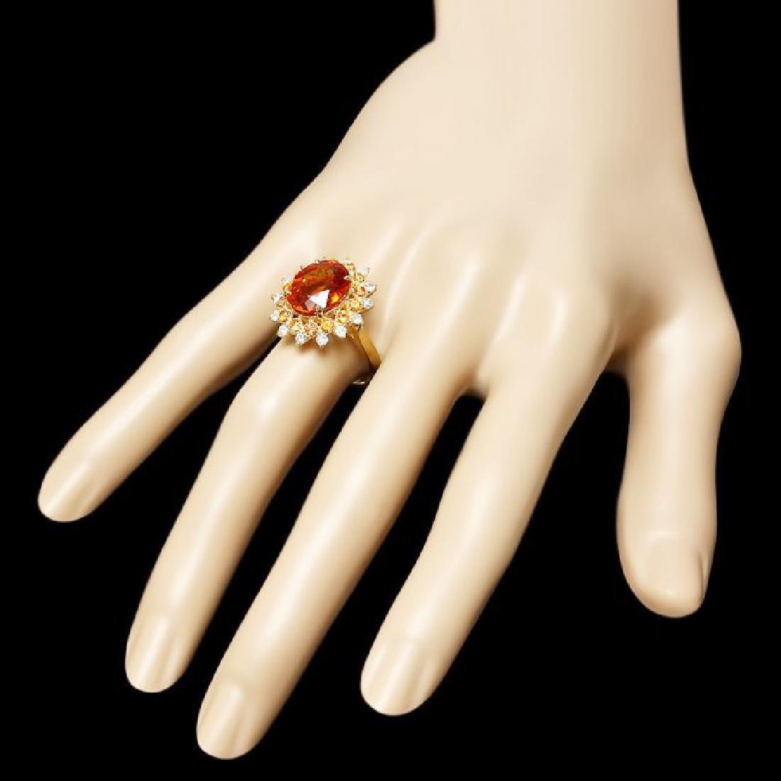 14k Gold 5.00ct Citrine 0.40ct Diamond Ring - 3