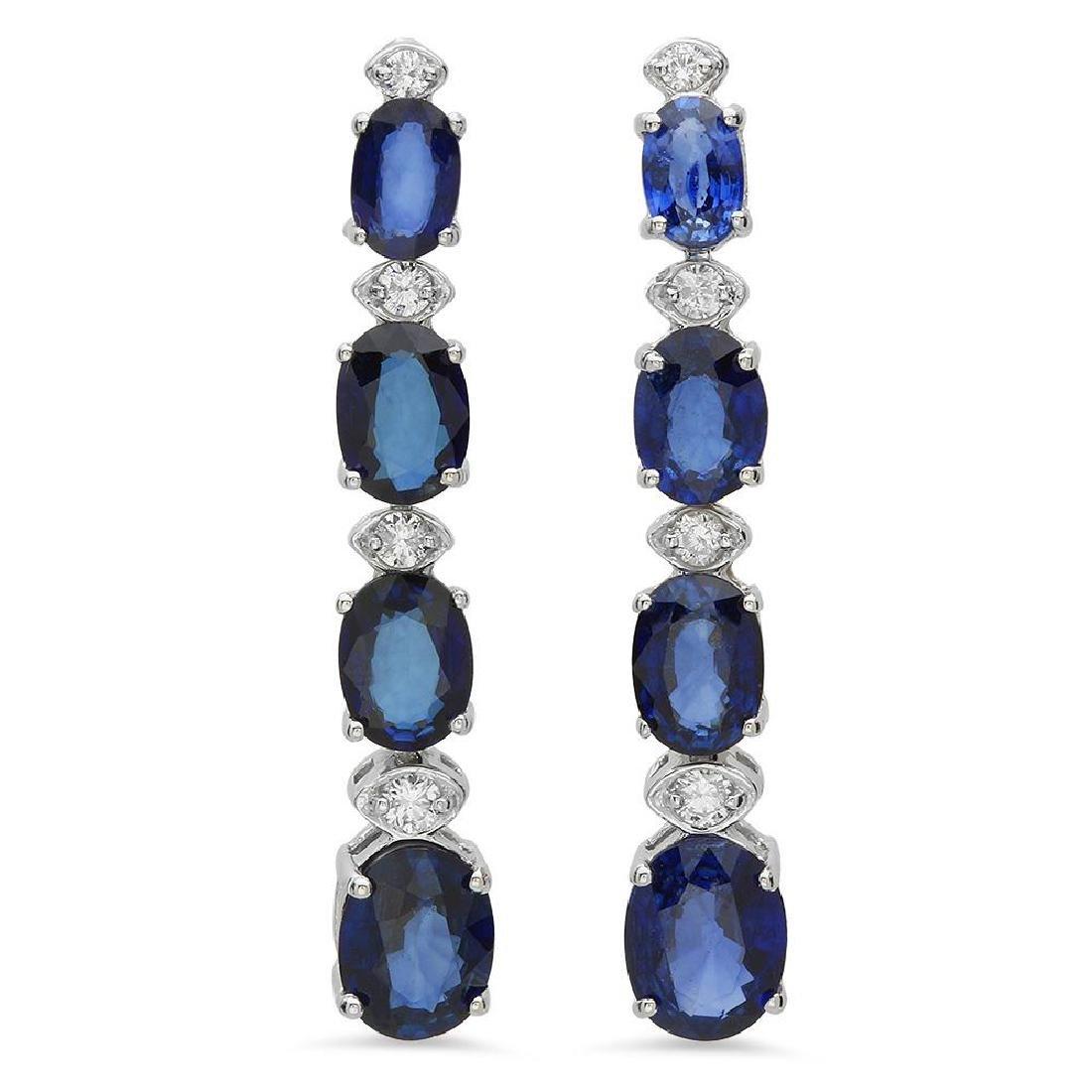 14K Gold 7.41ct Sapphire 0.31ct Diamond Earrings