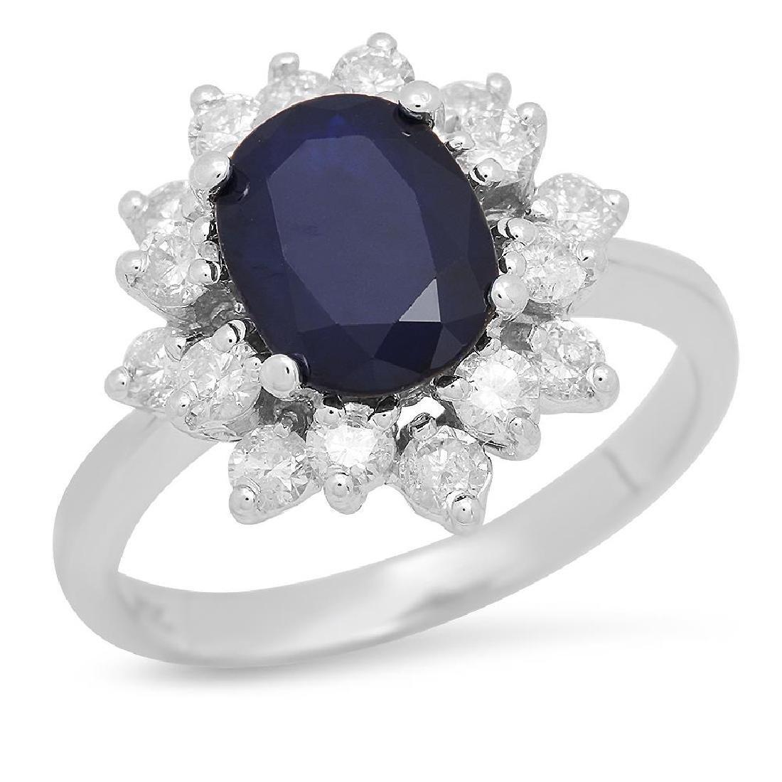 14K Gold 1.84ct Sapphire 0.90cts Diamond Ring