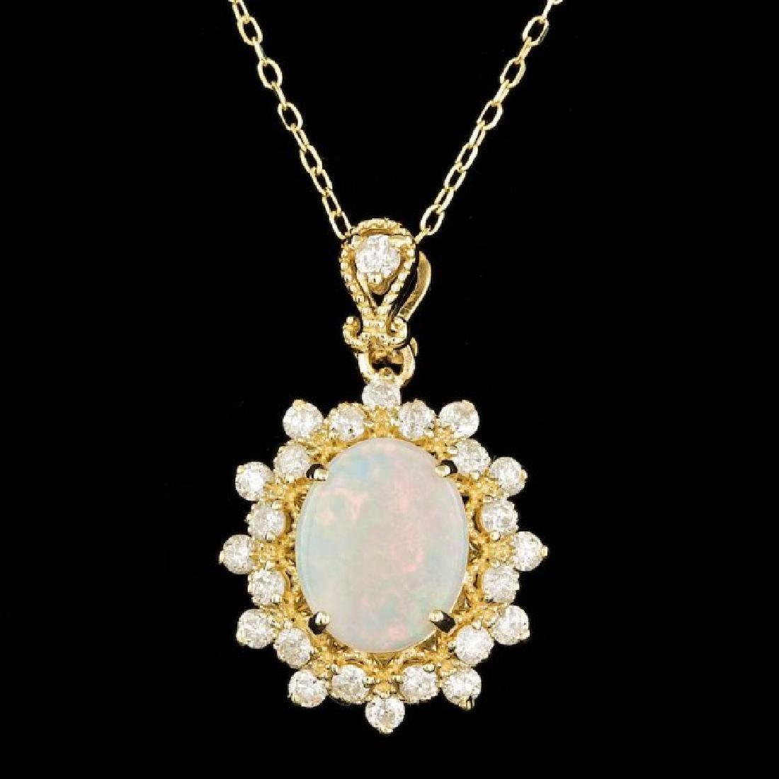 14k Gold 1.00ct Opal 0.70ct Diamond Pendant