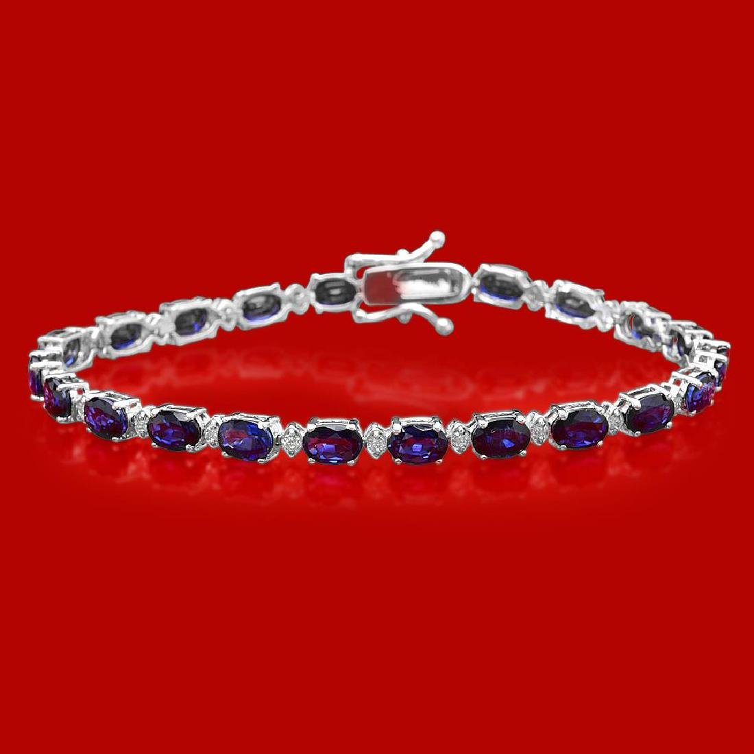 14k Gold 12.37ct Sapphire 0.50ct Diamond Bracelet