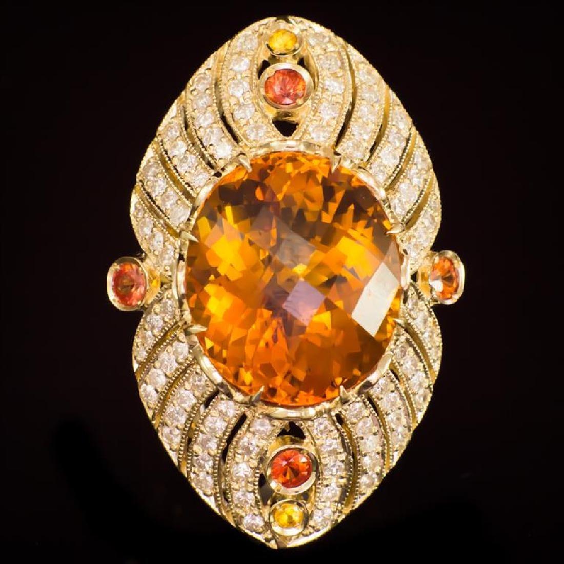 14K Gold 18.92ct Citrine, 0.75ct Fancy Color Sapphire