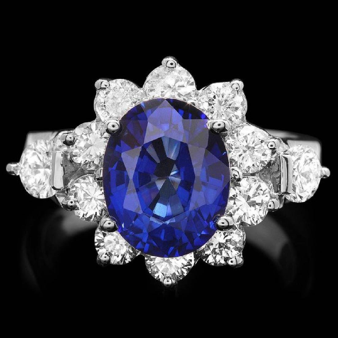 14k Gold 4.00ct Sapphire 1.55ct Diamond Ring