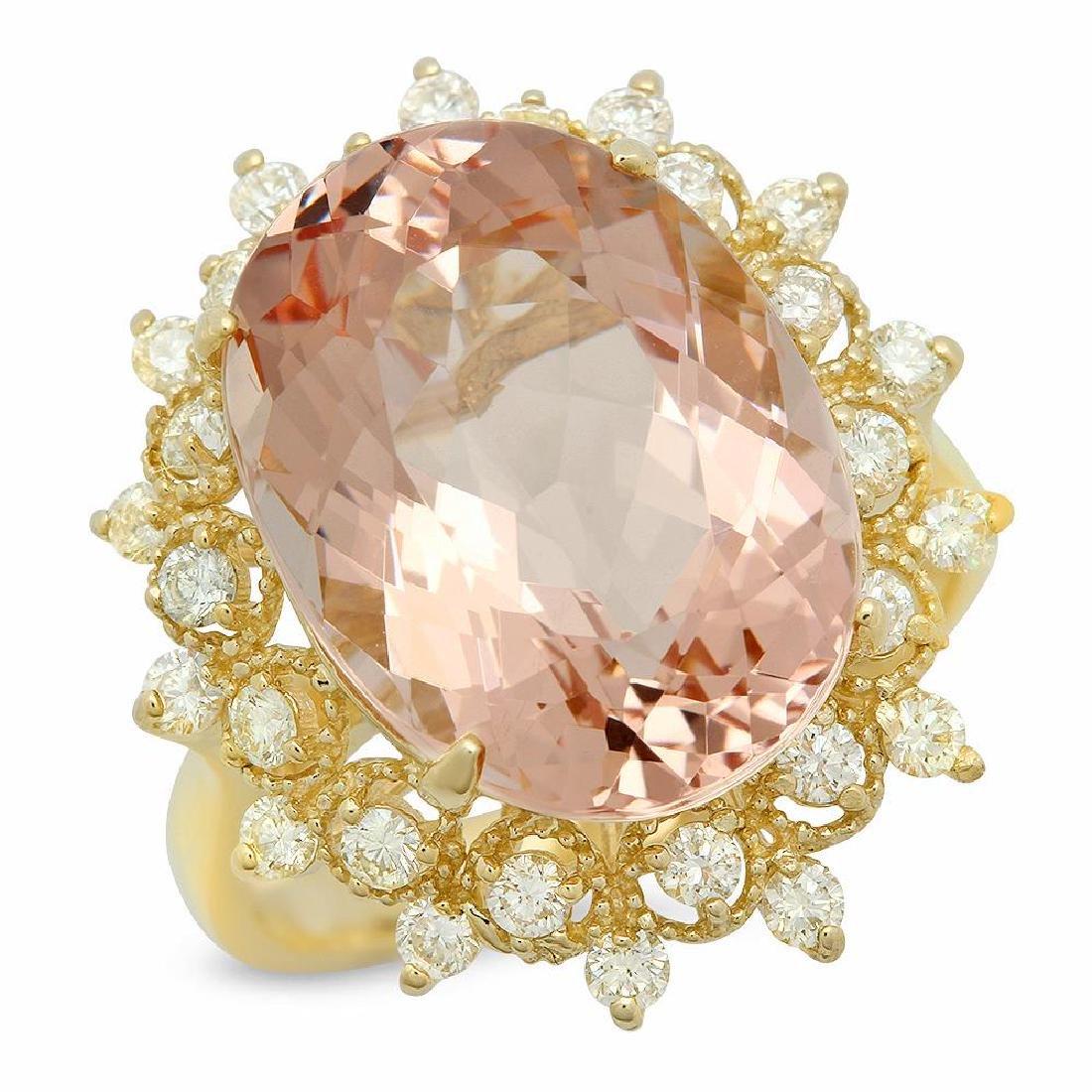 14K Gold 9.83ct Morganite 0.75ct Diamond Ring