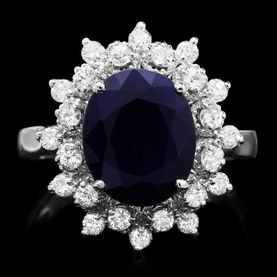 14k Gold 4.00ct Sapphire 0.70ct Diamond Ring