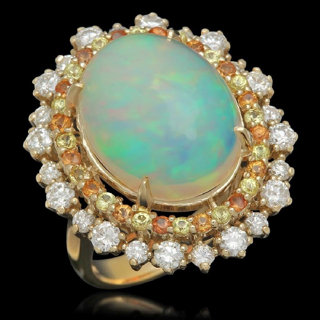 14K Gold 10.00ct Opal 0.80ct Sapphire 1.00ct Diamond