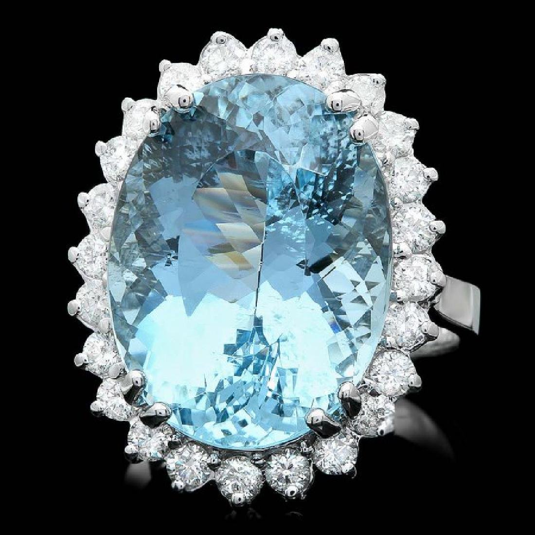 14k Gold 13.50ct Aquamarine 1ct Diamond Ring