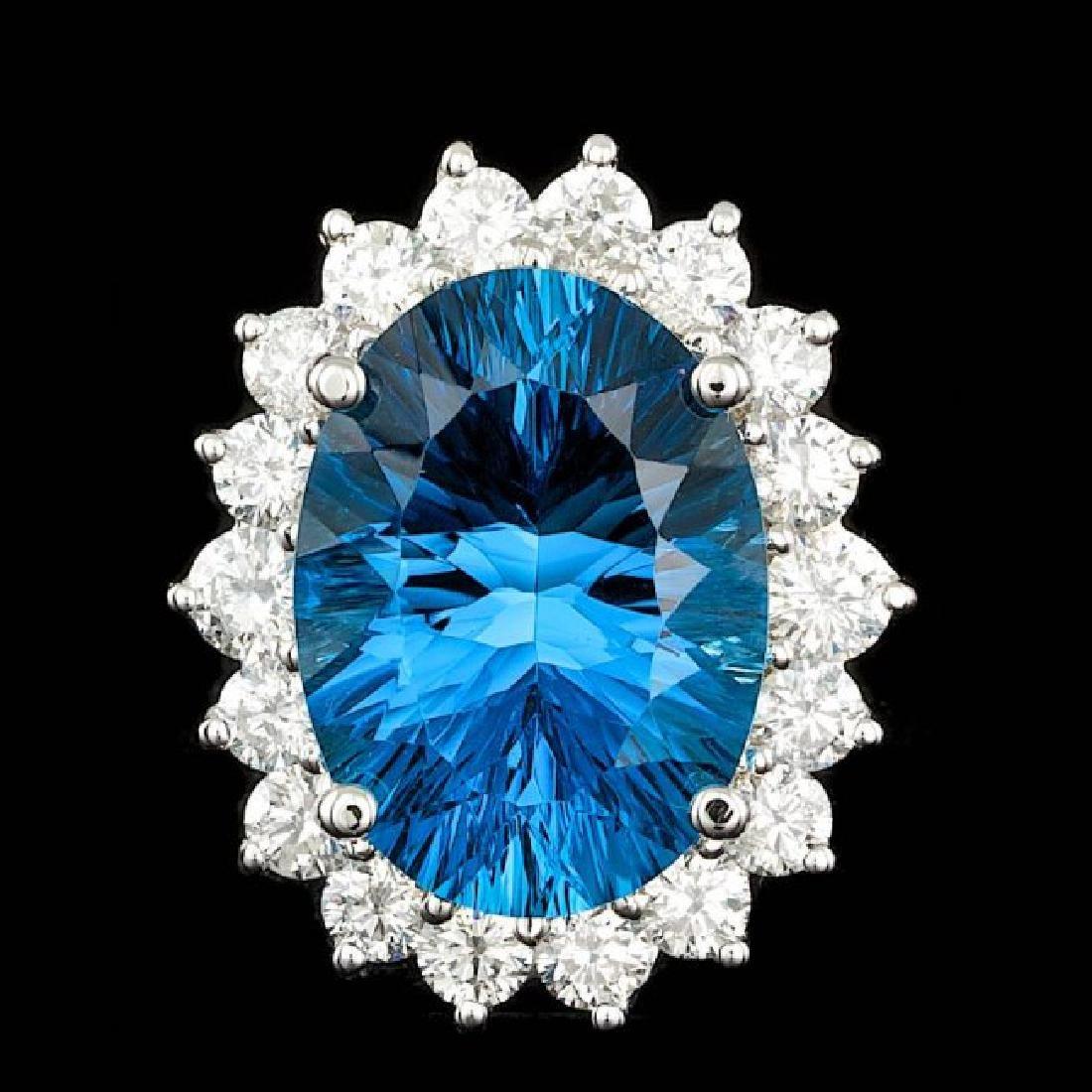 14k White Gold 14.00ct Topaz 2.15ct Diamond Ring