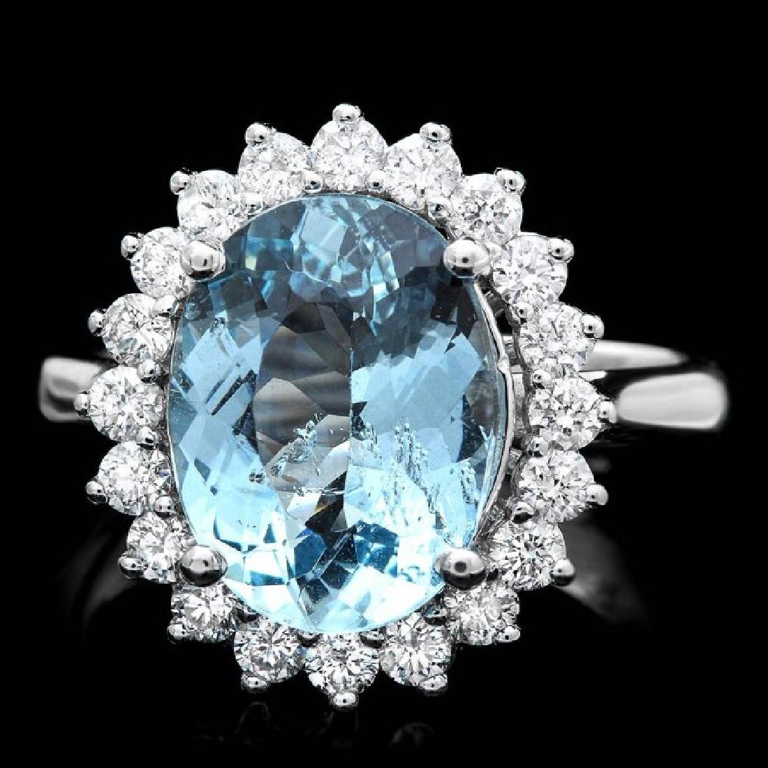 14k Gold 3.50ct Aquamarine 0.80ct Diamond Ring