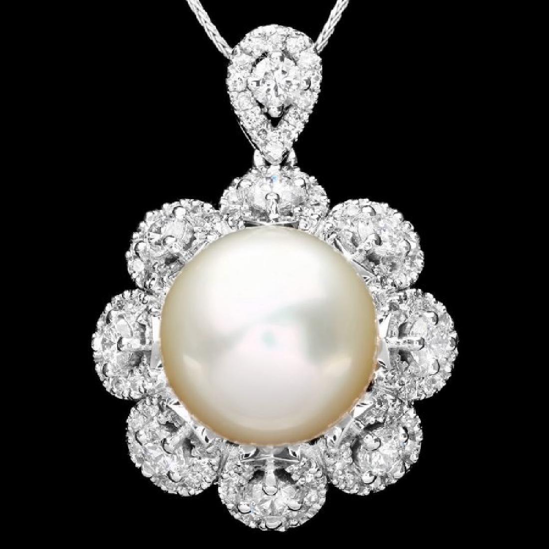 14k Gold 14 X 14mm Pearl 3ct Diamond Pendant
