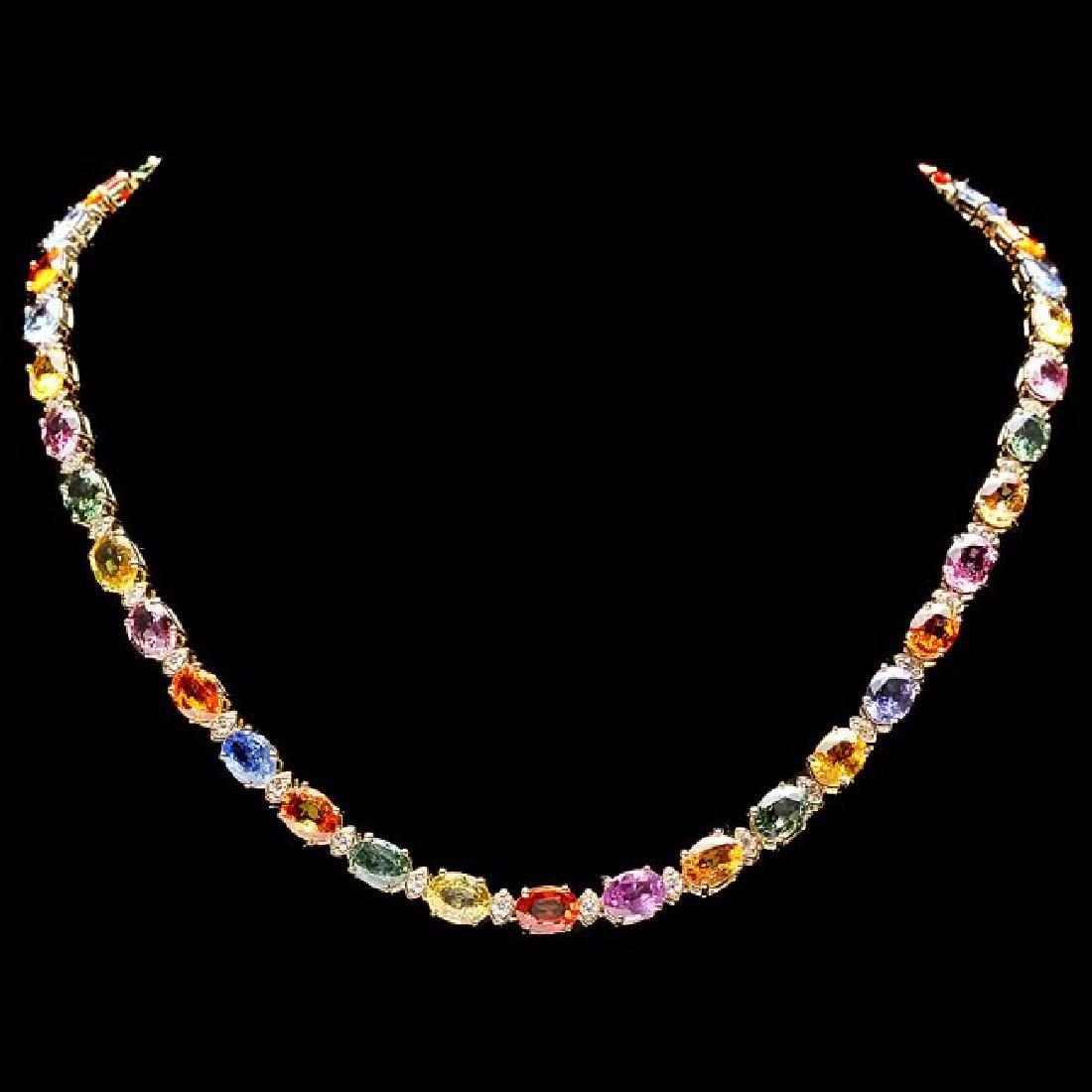 14k Gold 55ct Sapphire 2.3ct Diamond Necklace