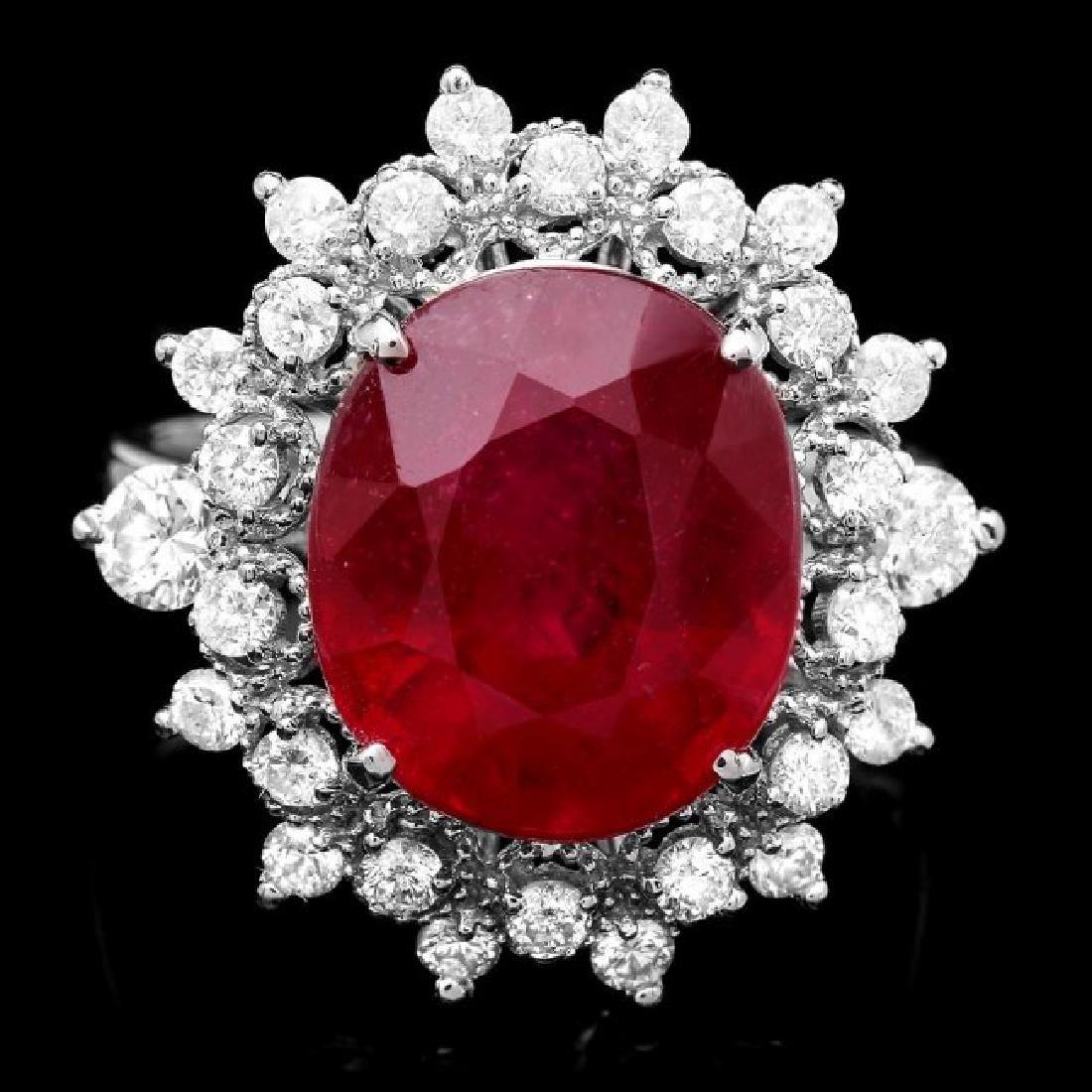 14k White Gold 8.50ct Ruby 1.10ct Diamond Ring