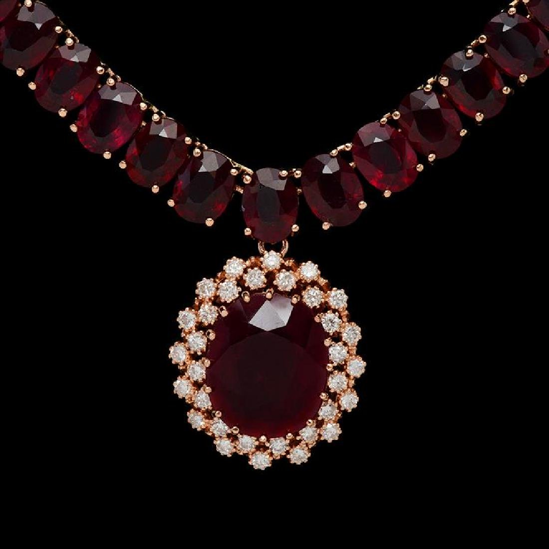 14K Gold 142.96ct Ruby & 1.10ct Diamond Necklace - 2