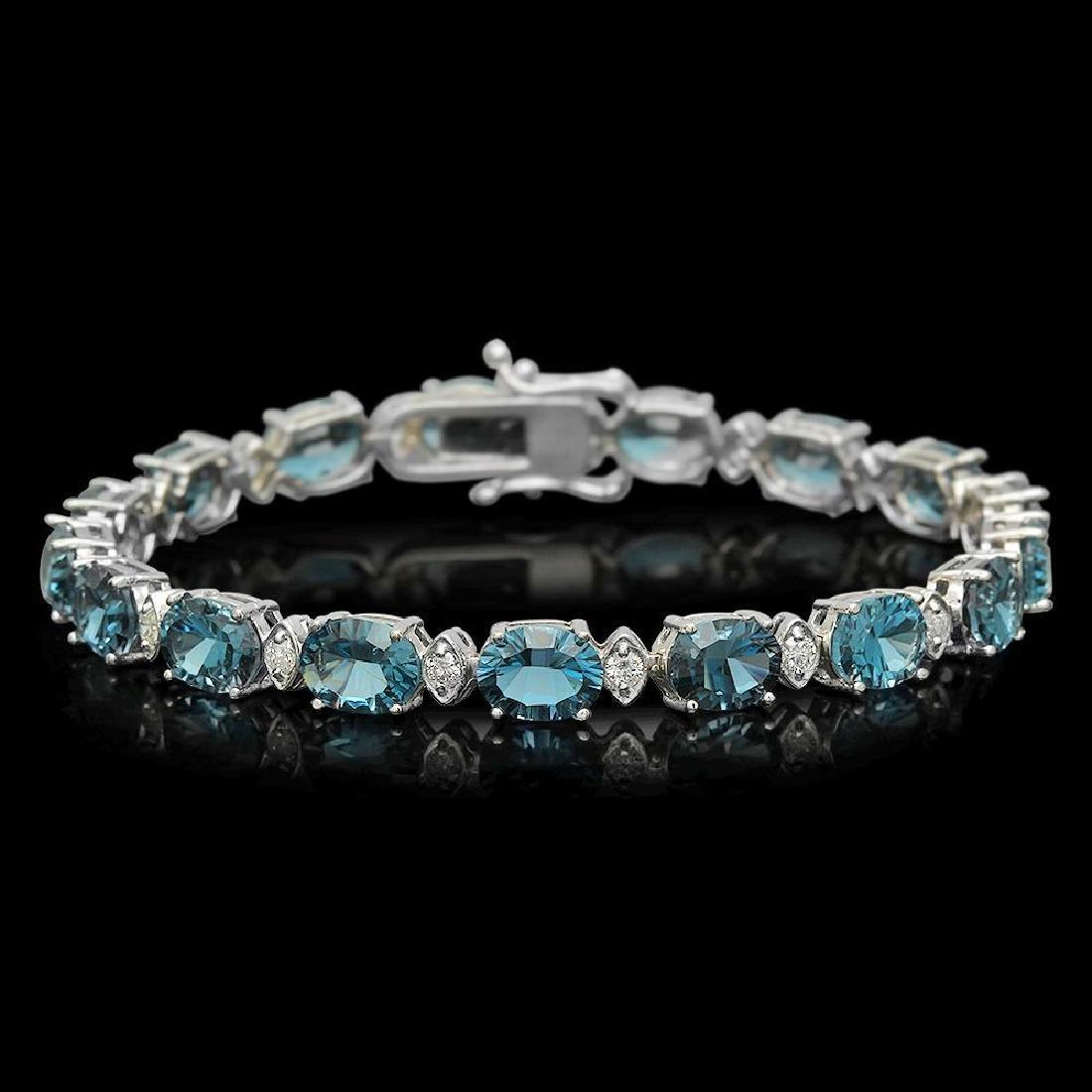 14K Gold 23.39ct Topaz 0.95ct Diamond Bracelet