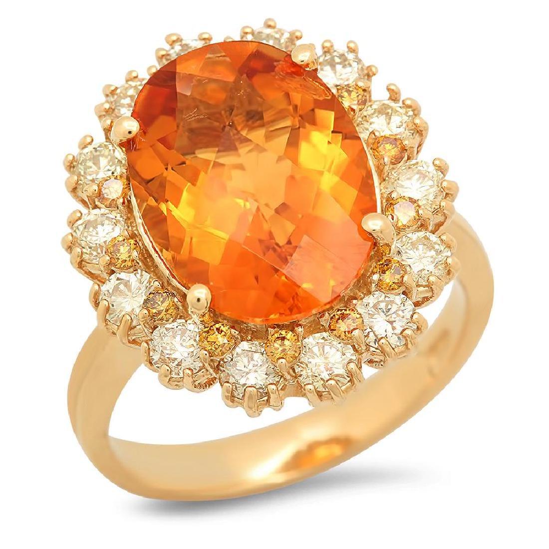 14K Gold 4.79ct Citrine 0.3ct Fancy Color Diamond