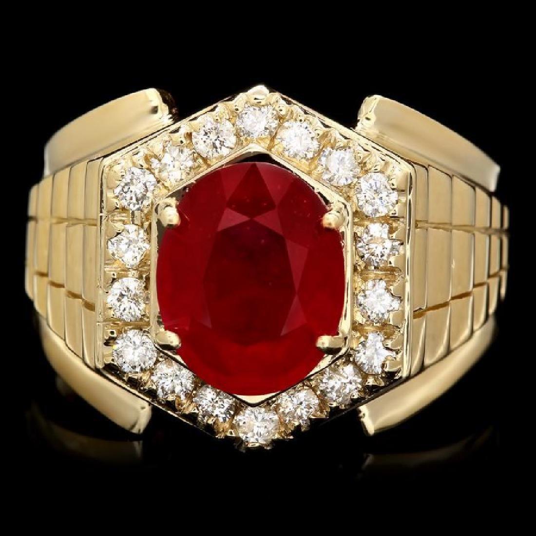 14k Gold 4.50ct Ruby 0.65ct Diamond Mens Ring