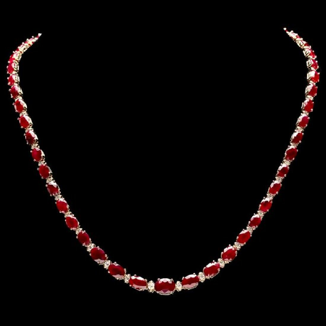 14k Gold 33.00ct Ruby 1.15ct Diamond Necklace
