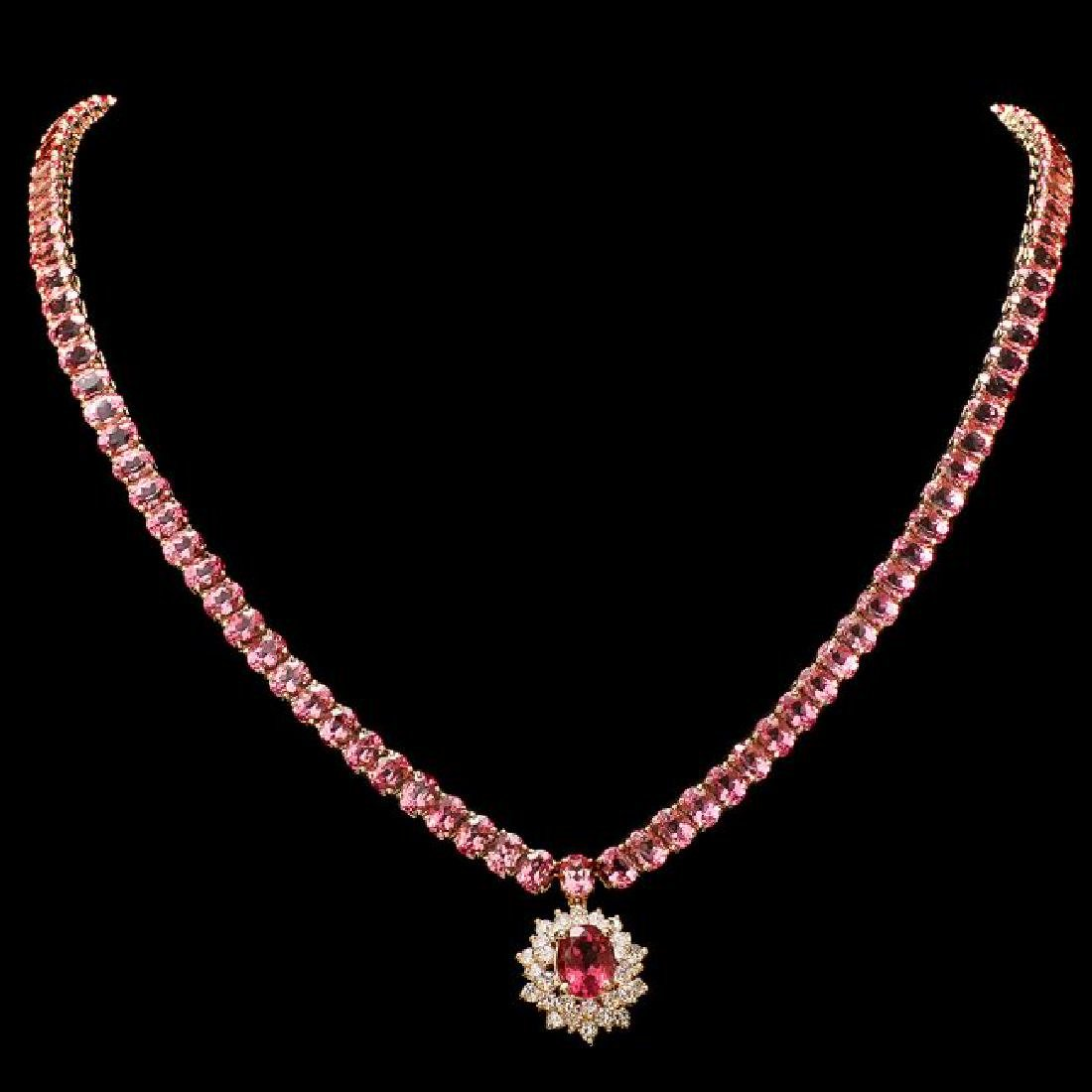 14k Gold 44ct Tourmaline 1.40ct Diamond Necklace