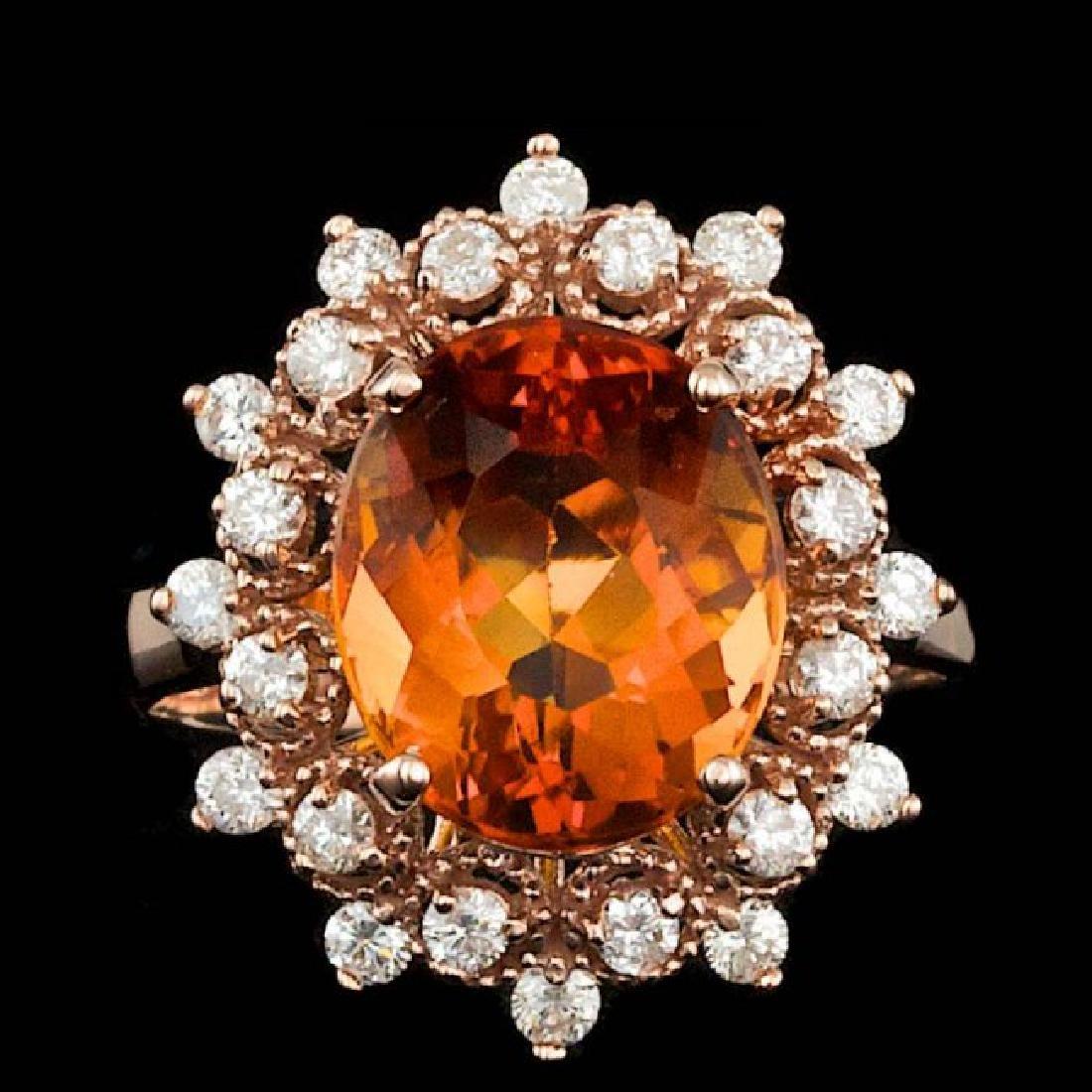 14k Rose Gold 4.50ct Citrine 0.65ct Diamond Ring
