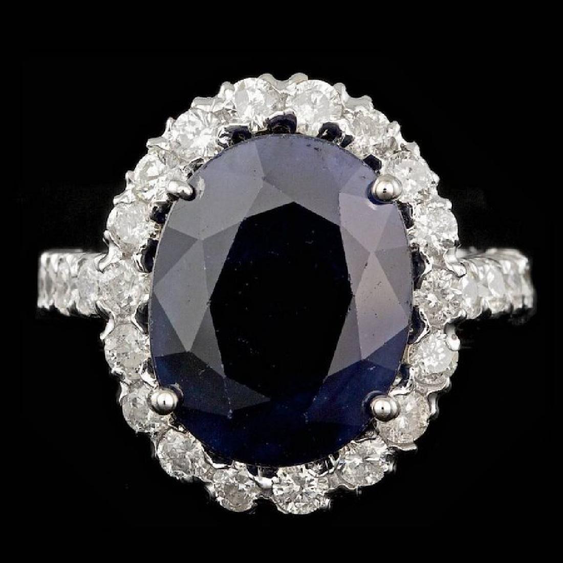 14k Gold 8.50ct Sapphire 1.50ct Diamond Ring