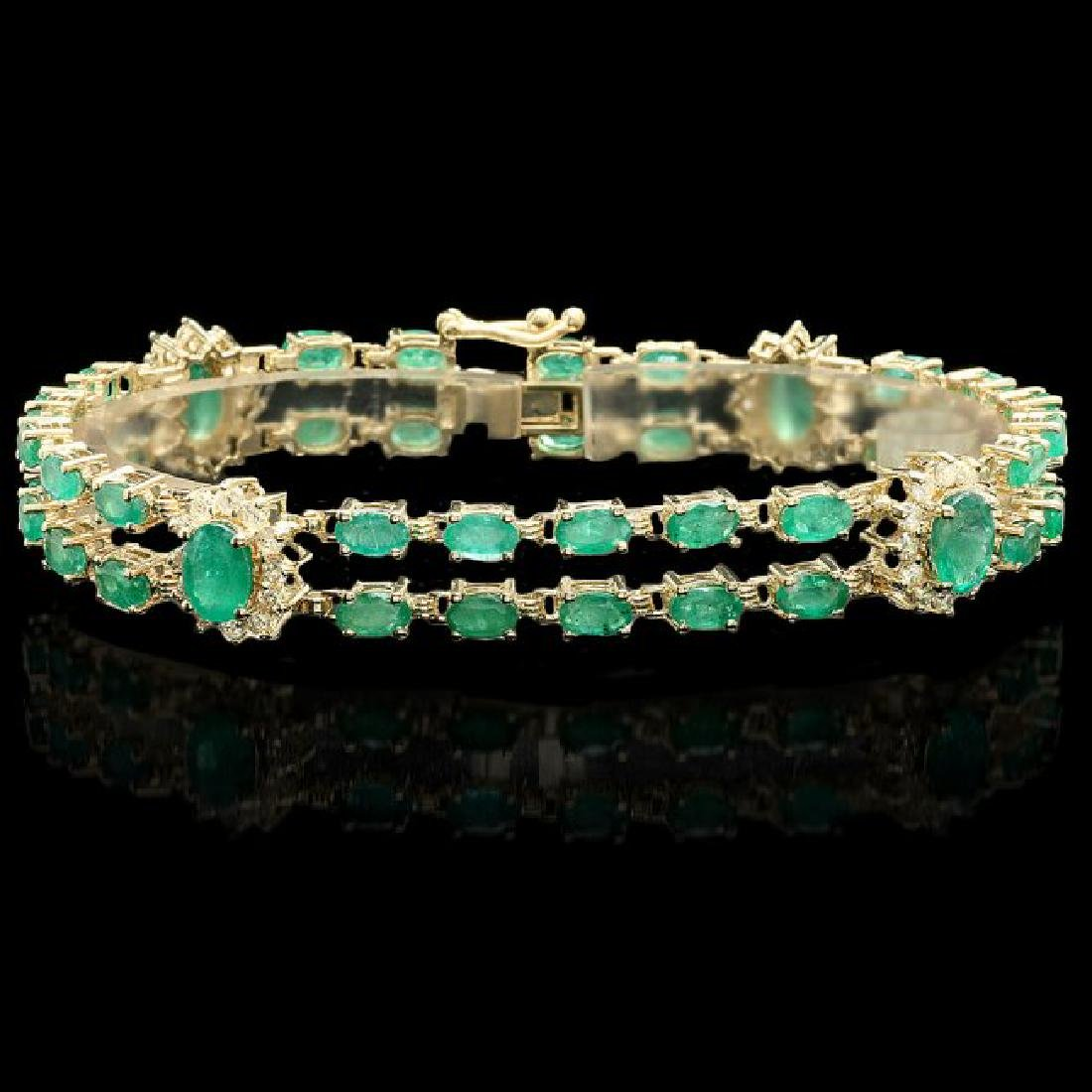 14k Gold 11ct Emerald 1.40ct Diamond Bracelet