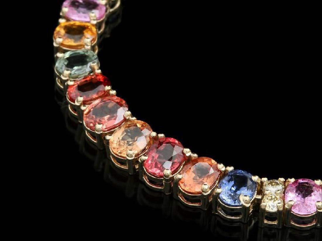 14k Gold 42.00ct Sapphire 1.00ct Diamond Necklace - 2