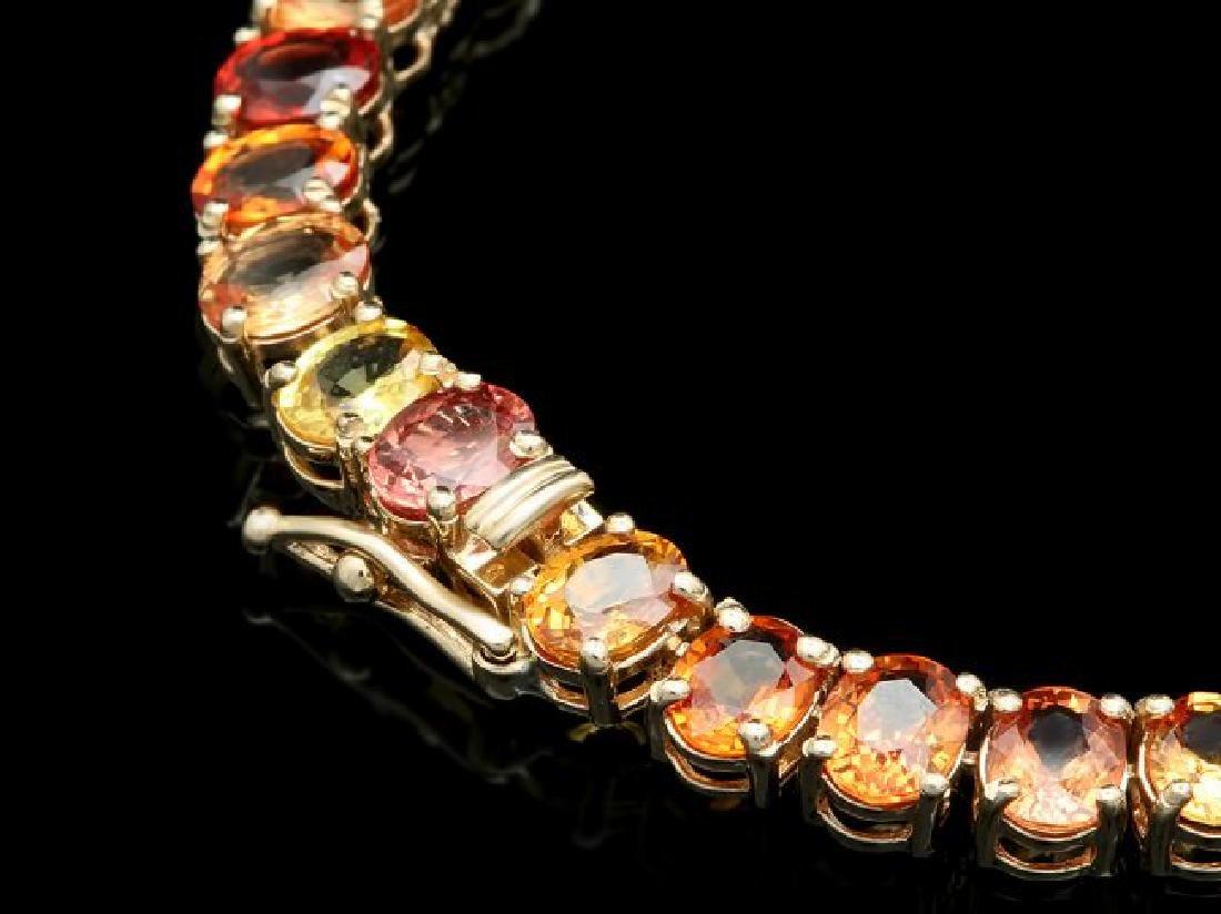 14k Gold 42.00ct Sapphire 1.00ct Diamond Necklace - 3