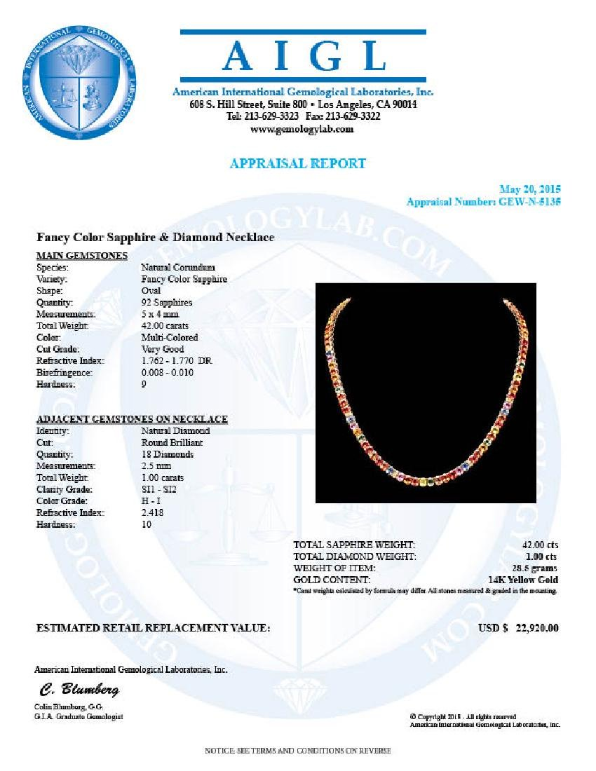 14k Gold 42.00ct Sapphire 1.00ct Diamond Necklace - 6