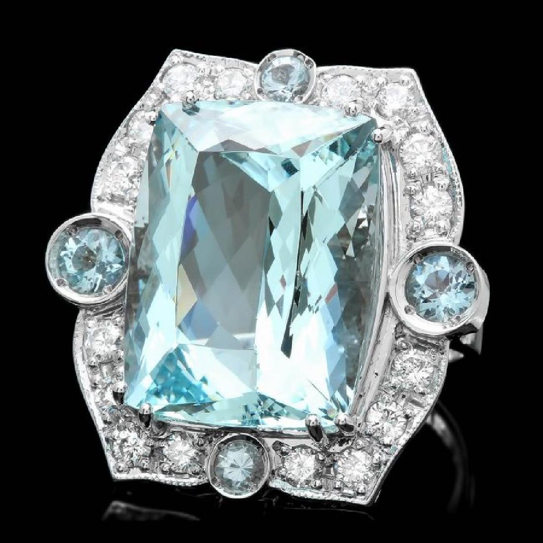 14k Gold 22ct Aquamarine 1.30ct Diamond Ring