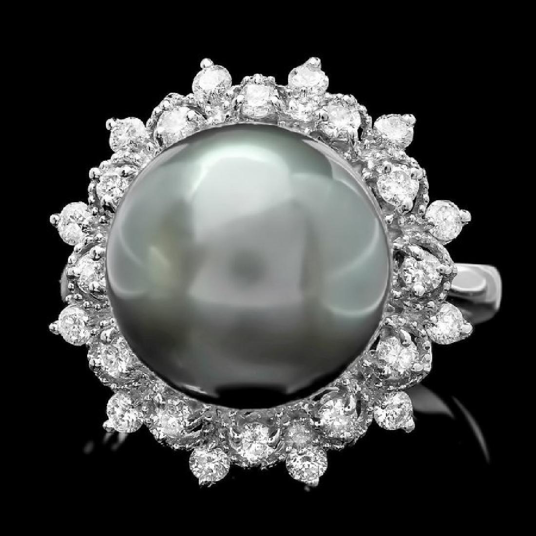 14k White Gold 12.5mm Pearl 0.60ct Diamond Ring