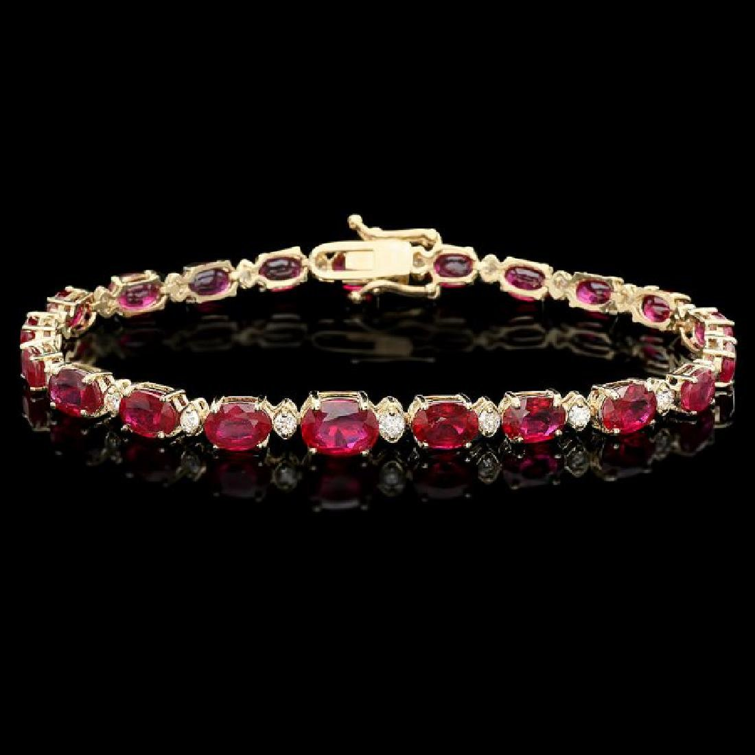 14k Gold 17.00ct Ruby 0.75ct Diamond Bracelet
