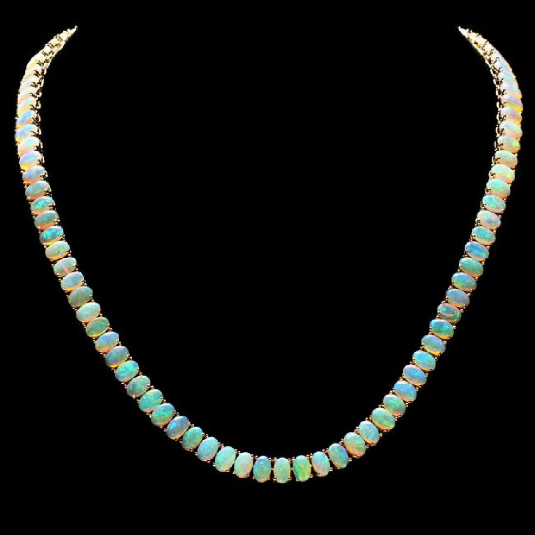 14k Yellow Gold 30.00ct Opal Necklace