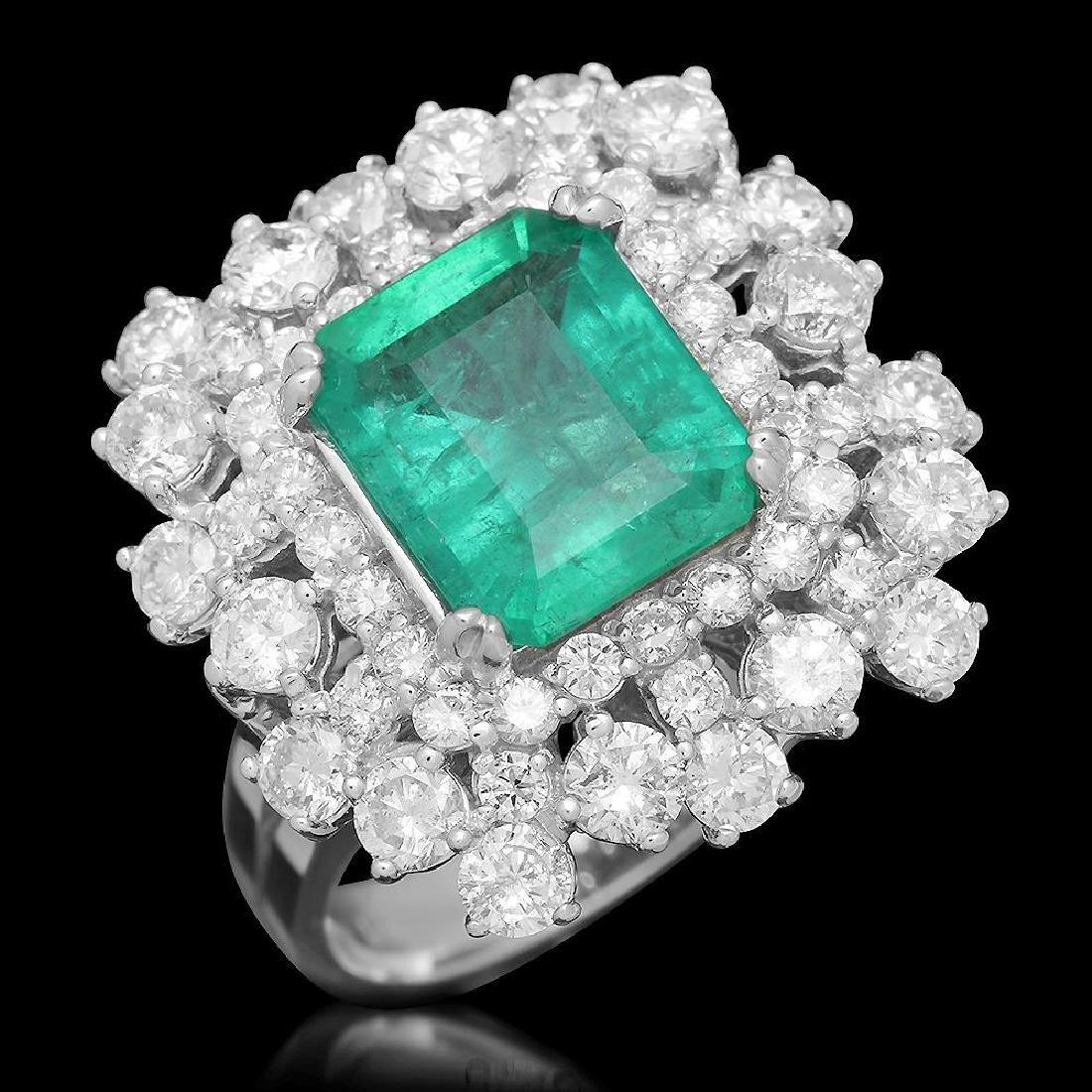 14K Gold 2.90 Emerald 2.71 Diamond Ring