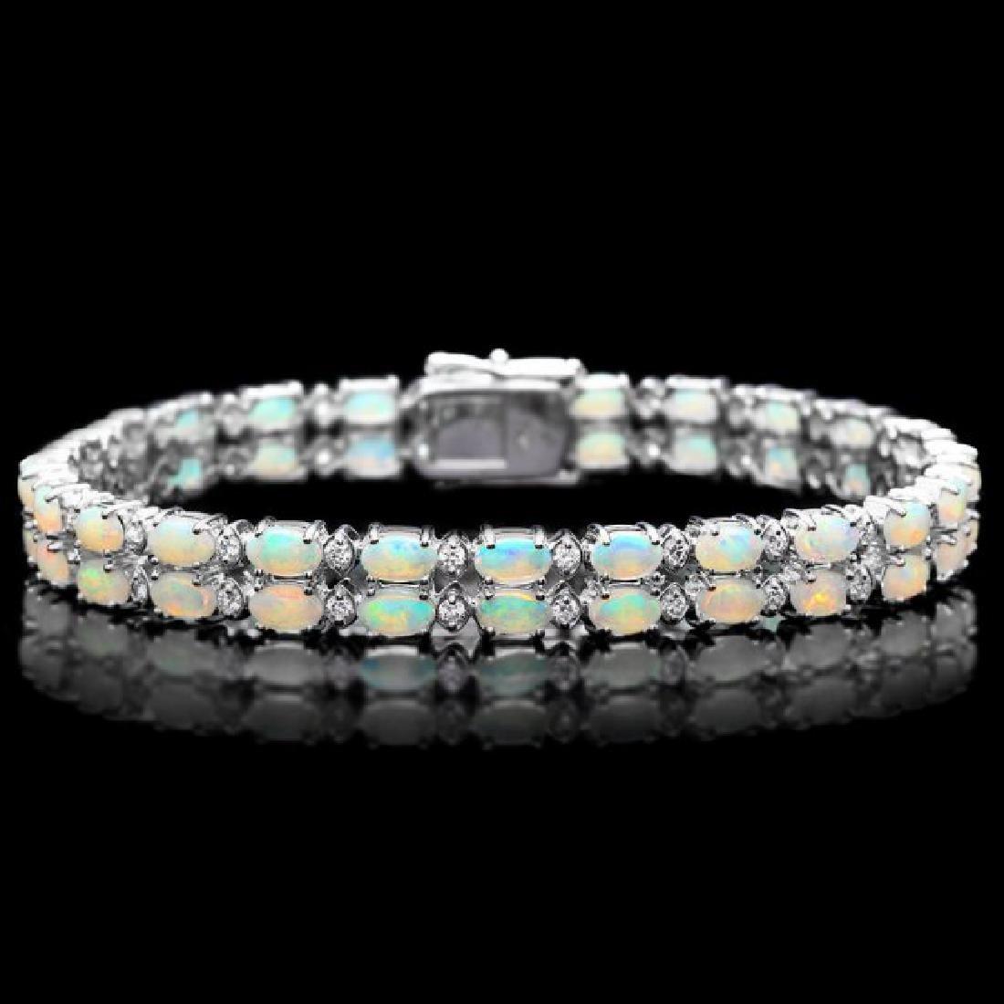 14k Gold 6.50ct Opal 1.20ct Diamond Bracelet
