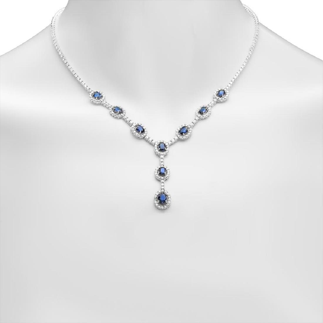 14K Gold 5.02ct Sapphire 5.67cts Diamond Necklace